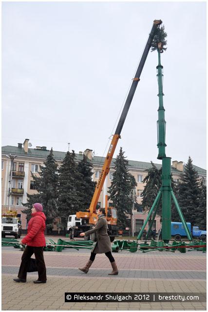 Установка новогодней елки на площади Ленина