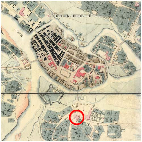 на карте старого Бреста