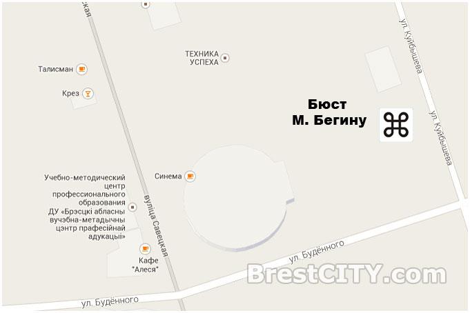 Место на карте, где находится памятник Менахему Бегину