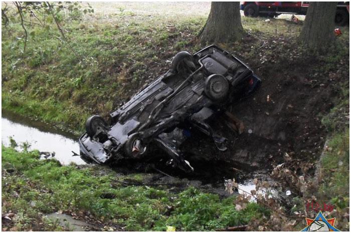 В Брестском районе перевернулся автомобиль