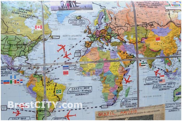 Карта мира с проложенным