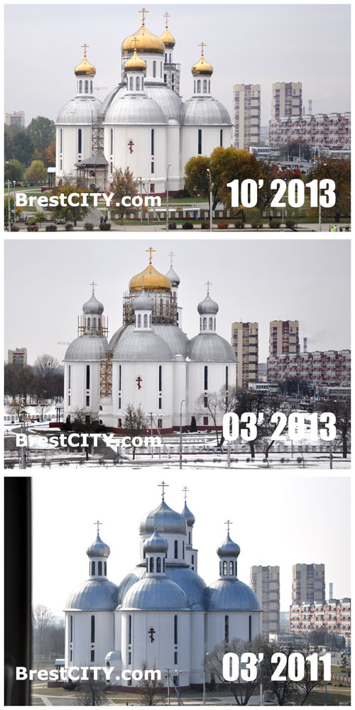 Завершено золочение куполов Свято-Воскресенского собора в Бресте