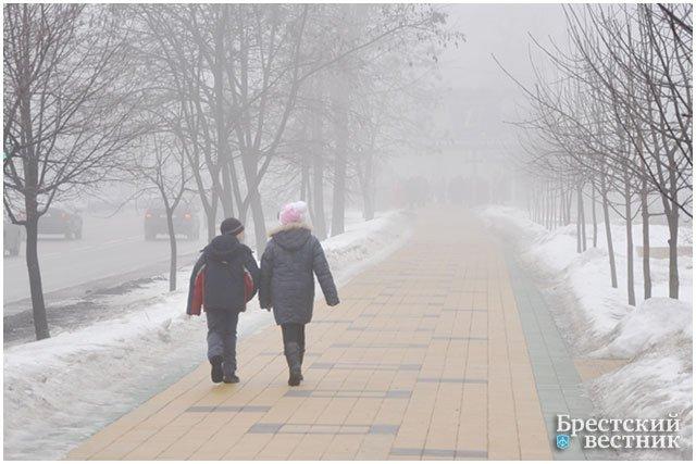Туман в Бресте зимой. Проспект Машерова