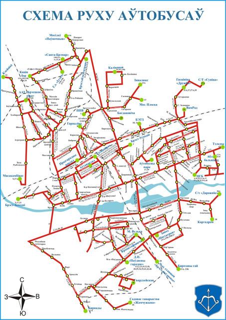Схема движения автобусов в Бресте